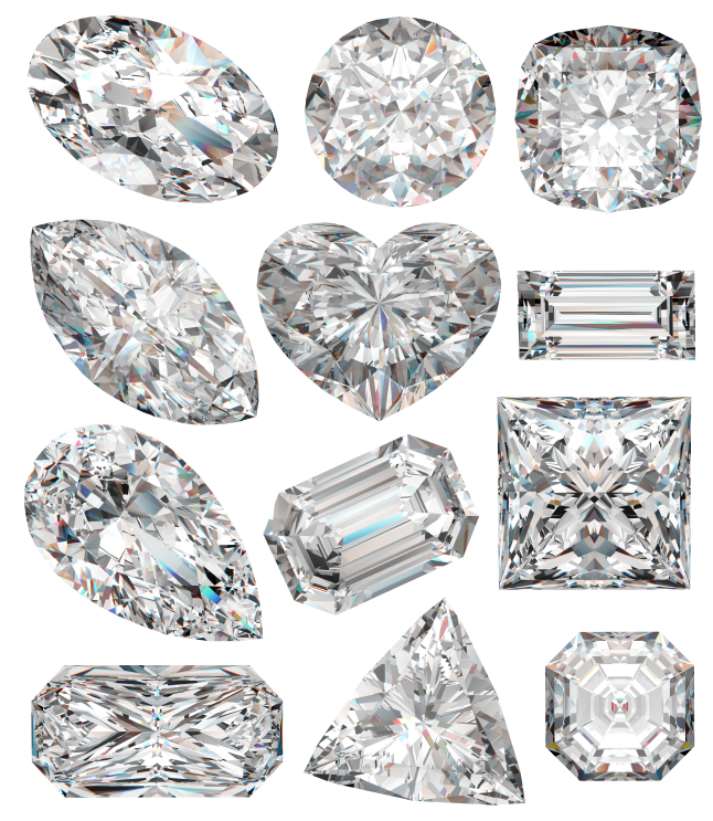 Different types of diamonds shapes and cuts
